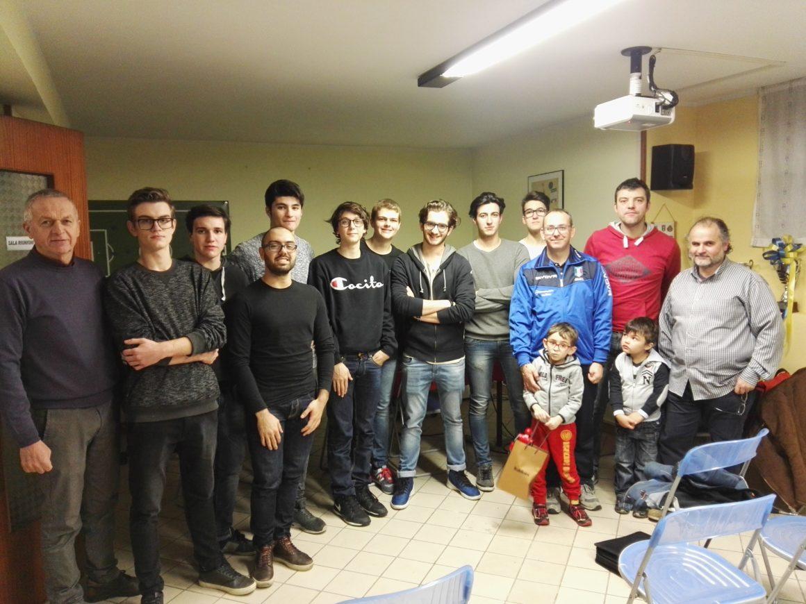 I ragazzi che hanno sostenuto l'esame del corso arbitri, gennaio 2018